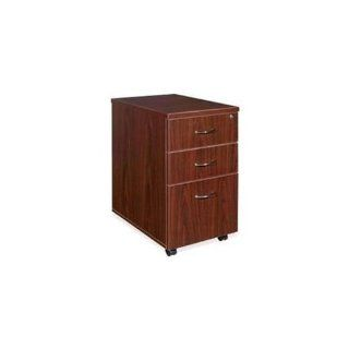 Lorell Mobile Pedestal, Box/Box/File, 16 by 22 by 28 1/4 Inch, Mahogany   Home Office Desks