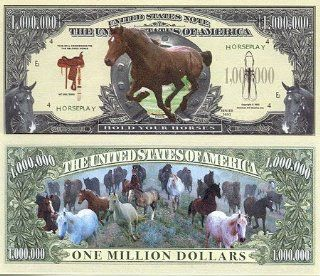 Set of 10 Bills Horse Million Dollar Bill: Toys & Games