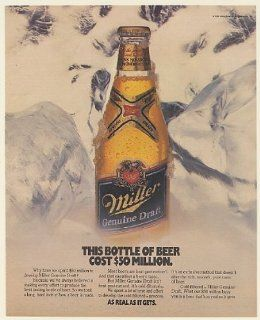 1988 Miller Genuine Draft Beer Bottle Cost $50 Million Print Ad (Memorabilia) (56572)