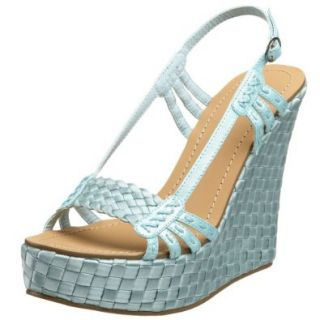 Miss Me Women's Heart 14 Open Toe Slingback Wedge, Light Blue, 5.5 M US: Pumps Shoes: Shoes