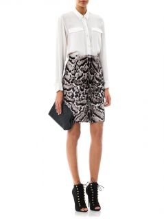 Jaguar print goat hair and leather pencil skirt  Christopher