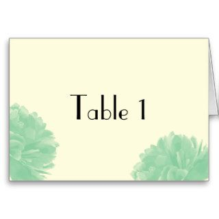 Mint Green Cream Peony Wedding Table Number Greeting Cards