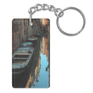 Boats on Canal Water Venice Italy Buildings Rectangle Acrylic Key Chains