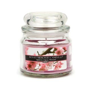 Mostly Memories Japanese Cherry Blossom 4 Ounce Lid Lites Soy Candle   Jar Candles