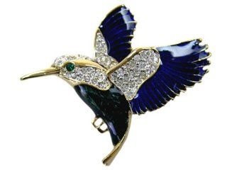 Gold tone Enamel CZ Crystal Hummingbird Lapel Pin Toys & Games