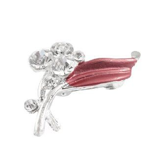 Woman Shiny Cluster Rhinestone Detail Red Leaf Floral Safety Pin Brooch: Jewelry