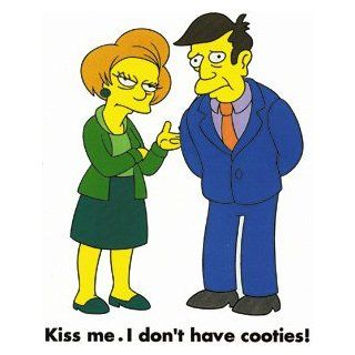 The Simpsons Cartoon TV Show Iron on Transfer   Principal Skinner and Mrs. Krabappel/Kiss Me. I Don't Have Cooties!: Automotive