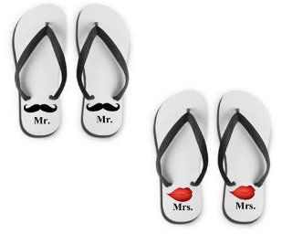 Set of Marriage Flip Flops Sandals Mr Mrs Lips N Mustache Gift for Couples : Wedding Ceremony Accessories : Everything Else
