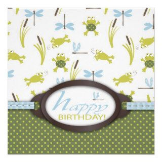 Ribbit Swimming Frog Birthday Invite