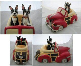 "Henry Cavanagh ""Mr & Mrs Magee Convertible Woody"" Cookie Jar (with Boston Terriers): Kitchen & Dining"