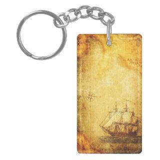 Antique Map & Ship Acrylic Key Chain