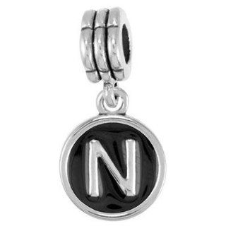 15mm Black Enamel Circle Alphabet Letter Charm   N