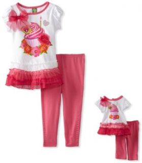 Dollie & Me Girls Cupcake Birthday Legging Set With Doll Outfit, Pink/White, 6: Skirts Clothing Sets: Clothing