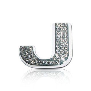 Crystal Letter J Chrome Car Emblem: Automotive