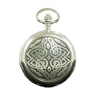 Twisted Celtic Knot Quartz Half Hunter Fob Pocket Watch Made in Scotland PW15: Clothing