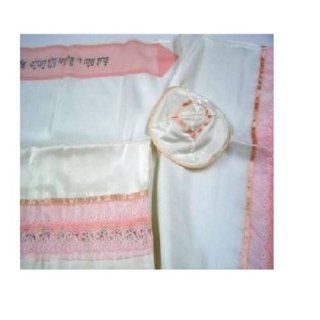 Pink Lace Silk Tallit Prayer Shawl White (Israel) Girl / Woman: Everything Else