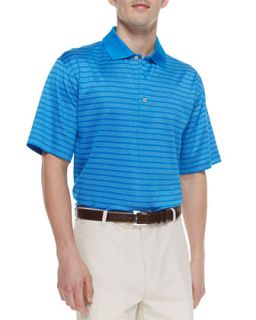 Mens Voodoo Lisle Stripe Polo, Blue   Peter Millar   Blue (XL)