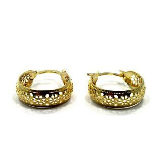 REAL BARGAIN!!! NEARLY OUT OF STOCKl!!! GF 18k Earrings Flower Filigree Small Hoop 15mm Teens Lady Woman 15mm in: Health & Personal Care