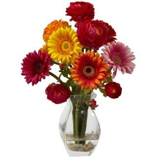 Nearly Natural 1298 AS Gerber Daisy and Ranunculus Delight Arrangement, Assorted   Artificial Floral Arrangements