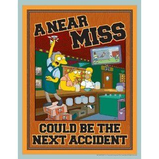 Simpsons Workplace Safety Poster   A Near Miss Could Be The Next Accident: Industrial Warning Signs: Industrial & Scientific