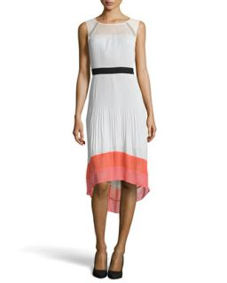 Colorblock Pleated High Low Dress, Moonlight