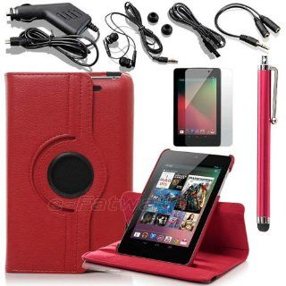 Leather Case Fits Google Nexus 7 2013 2nd Generation Red Folio Stand PU Leather + Charger/USB Cable/Stylus/LCD Screen Protective Film (Not fit Google Nexus 7 2012 1st Generation. Please see the 2nd image for the difference of 2012 and 2013 versions) (PLEAS