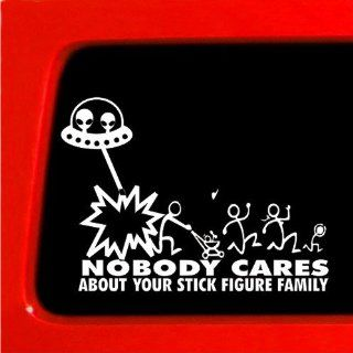 Stick Figure Family Alien Attack ufo Nobody Cares funny sticker Decal Car Truck Laptop Automotive
