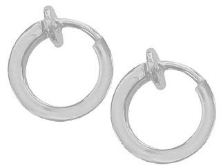 Pair of Flat Silver Color Small Size 5/16 in. Non Pierced Hoops Clip On Hoop Earrings Fake Nose Ring Fake Lip Ring Non Pierce Body Jewelry: Jewelry