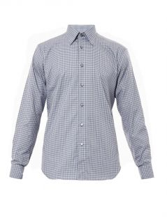 Check print cotton shirt  Brioni