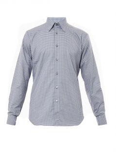 Check print cotton shirt  Brioni
