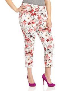 NYDJ Women's Plus Size Alisha Ankle Watercolor Floral Poppy Jean, Red/Multi, 16W