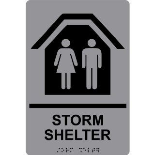 ADA Storm Shelter With Symbol Braille Sign RRE 14835 BLKonGray  Business And Store Signs