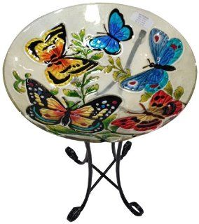 Continental Art Center CAC2609450 Deep Hand Painted Glass Plate, 18 by 3 Inch, Butterflies  Birdbaths  Patio, Lawn & Garden