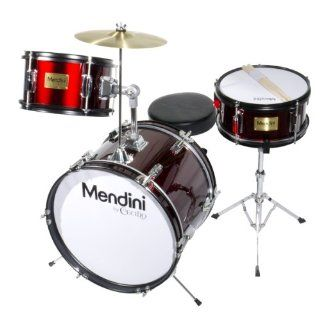 Mendini MJDS 3 BK 16 inch 3 Piece Black Junior Drum Set with Cymbals, Drumsticks and Adjustable Throne Musical Instruments