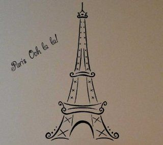 (Medium) Eiffel Tower Ooh La La Paris vinyl lettering wall art decals words home decor sayings quote stickers