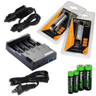 Nitecore Sysmax Intellicharge i4 version 2, Four Bays universal home/in car battery charger, Two Fenix 18650 ARB L2 2600mAh rechargeable batteries (For PD35 PD32 TK22 TK75 TK11 TK15 TK35) with EdisonBright Batteries sampler pack