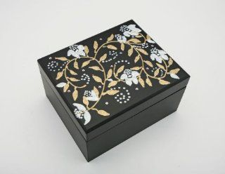 Swarovski Crystals Vintage style Magnolia Flowers Tazo Tea Box, Wooden Tea Chest Includes 22 TAZO Tea Bags 4 Compartment Sampler in 11 Assorted Flavors Handpainted in America USA  Gourmet Tea Gifts  Grocery & Gourmet Food