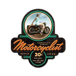 Motorcyclist Biker Girl Vintage Metal Sign Motorcycle Bike Pin Up 17X18 Not Tin   Decorative Signs