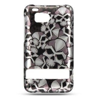 Rubberized phone case with silver background and black skulls design that fits onto your HTC ThunderBolt: Everything Else