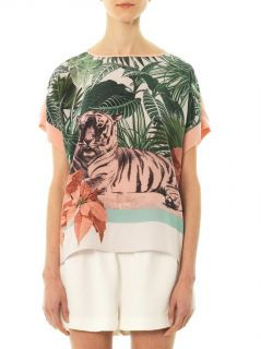 Tiger print silk top  Emma Cook