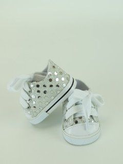 "18 Inch Silver Sequin Sneaker Tennis Shoe. Doll Clothing/ Fits 18"" American Girl Dolls, Gotz, Our Generation Madame Alexander and Others.: Toys & Games"