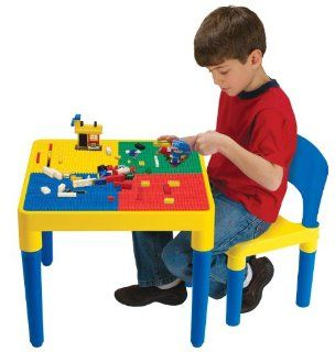 Kids Only Block Builders Construction Table with 1 Chair and 100 Building Blocks: Toys & Games