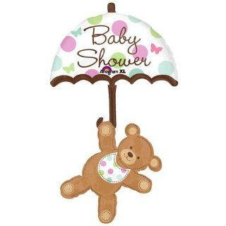 "Baby Shower Bear Holding Onto an Umbrella 24"" Mylar Balloon: Health & Personal Care"