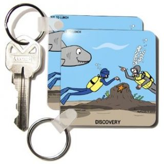 kc_5292_1 Rich Diesslins Funny General Cartoons   SCUBA Surprise   diver points out star fish and buddy points out the shark!   Key Chains   set of 2 Key Chains: Clothing