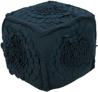 "18"" x 18"" x 18"" Poufs 70% Wool / 30% Others Ink This square Pouf in a deep gray navy blue with three dimensional rosettes on fives sides will add a touch of whimsy to your room. : Ottomans : Everything Else"
