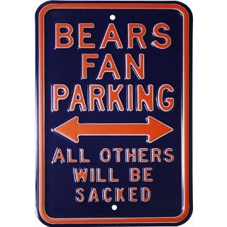 Chicago Bears Fan Parking All Others Will Be Sacked Steel Sign : Street Signs : Patio, Lawn & Garden