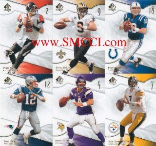 2009 SP Authentic Football Series 100 Card Complete Mint Basic Hand Collated Set. Loaded with Stars Including Adrian Peterson, Tony Romo, Reggie Bush, Ben Roethlisberger, Brett Favre (Shown in a Vikings Jersey), Carson Palmer, Peyton Manning, Randy Moss, T