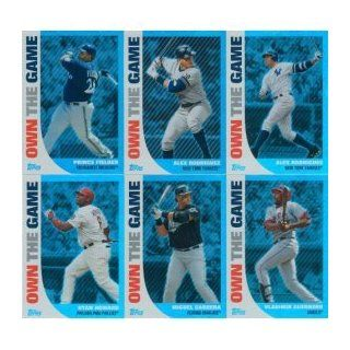 "2008 Topps ""Own the Game"" Baseball Complete Mint 25 Card Insert Set. Loaded with Stars Including Alex Rodriguez (2 Cards), Ryan Howard (2), Prince Fielder (2), Jim Thome, Adam Dunn, David Ortiz, Lance Berkman, Brandon Webb, Jake Peavy, Matt Holli"