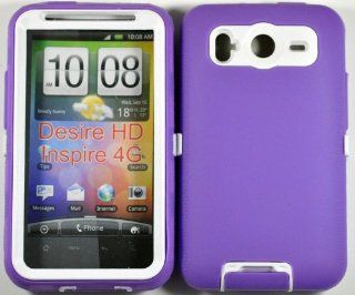 Hard Plastic Snap on Cover Fits HTC Inspire 4G Desire HD Armor Purple White Hybrid Case (Outside Purple Soft Silicone Skin, Inside Black Front and Back Hard Case) AT&T: Cell Phones & Accessories