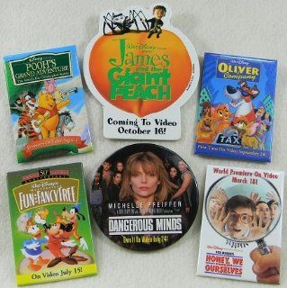 Disney Promo Pins set of 6 included are: Disney Fun and Fancy Free Promo Movie Pin 50th, Anniversary Limited Edtion, James And The Giant Peach, Pooh's Grand Adventure, Oliver&Company, Dangerous Minds Michele Pfeifer and Honey We Shrunk Ourselves. :